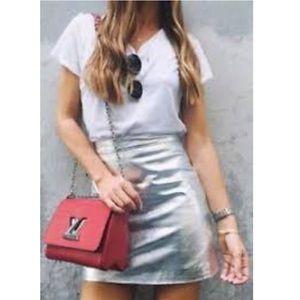 Zara leather metallic mini EUC
